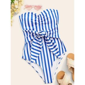 Striped knot front one piece swimsuit
